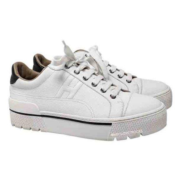 Hermes White Voltage Platform Sneakers